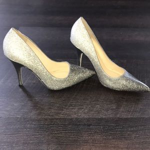 Licorice pewter silver glitter ombré stiletto heel